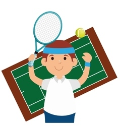 Happy man tennis court game vector