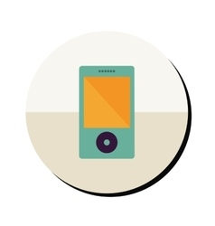 Portable music device in round frame vector