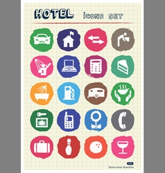 Hotel and service icons set drawn by chalk vector