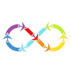 Rainbow airplanes infinity vector image