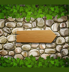 stone wall with arrow and leaves vector image