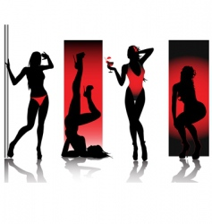 Sexy silhouettes in red vector