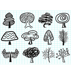 doodle tree icons vector image