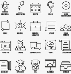 Set linear business education icons - part 1 vector