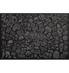 Chalkboard hand drawn doodle cartoon set of vector