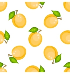Yellow apricot fruit seamless pattern vector