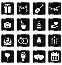 Wedding simply icons vector
