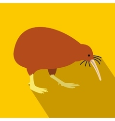 North island brown kiwi icon flat style vector