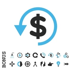 Chargeback flat icon with bonus vector
