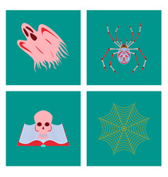 assembly flat ghost spider book skull spider web vector image