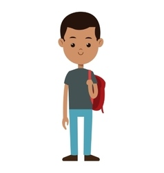 Back to school boy red bag smile black hair vector