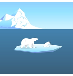 Background with two polar bears she-bear and teddy vector