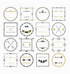 black and golden empty circle and square frame set vector image