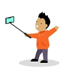 Boy video blogger with smart phone vector