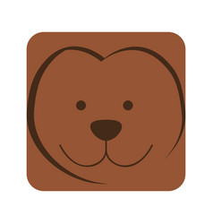 Brown square monkey animal face expression vector