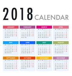 calendar for 2018 on white background week starts vector image