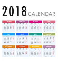 calendar for 2018 on white background week starts vector image vector image