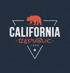 california republic t-shirt and apparel design vector image vector image