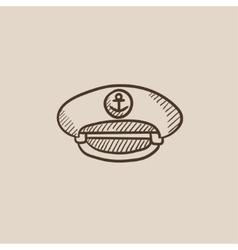 Captain peaked cap sketch icon vector image