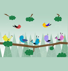 cartoon cute birds is sitting on branch in the vector image vector image