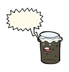 Cartoon glass of stout beer with speech bubble vector