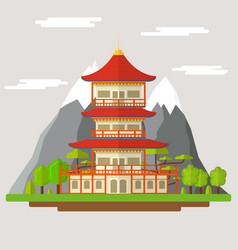 cartoon japanese temple vector image vector image