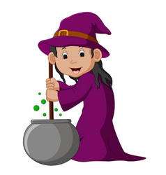 Cartoon little witch preparing potion vector