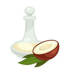 Coconut oil in bottle flat isolated icon vector