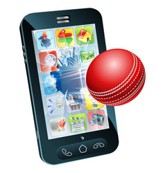 cricket ball flying out of mobile phone vector image