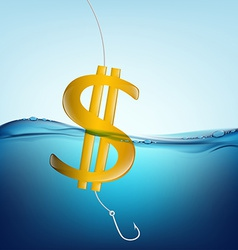 dollar sign in the form of a float and a fishing vector image vector image