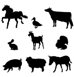 Farm animals silhouette set vector