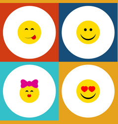 Flat icon emoji set of caress delicious food joy vector