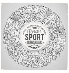 Hand drawn set of sport cartoon doodle vector