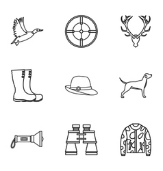 Hunting of animals icons set outline style vector