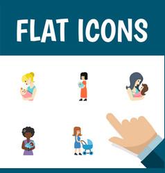 Icon flat mam set of mother parent newborn baby vector