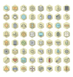 icons line hexagonal ui miscellaneous vector image vector image