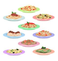 italian pasta set spaghetti dishes on plates vector image