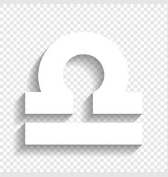 Libra sign white icon with vector