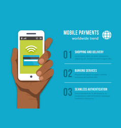 Mobile payments phone in black man hand vector
