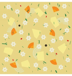 Noodle and vegetable soup seamless pattern vector