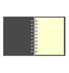 Open empty notebook with grey cover vector