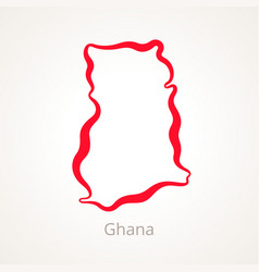 outline map of ghana marked with red line vector image vector image