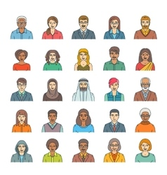 People faces avatars flat thin line icons vector image vector image