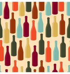 Seamless pattern with wine bottles vector image