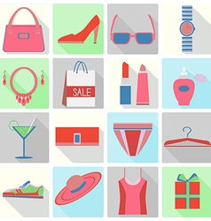 set of icons flat style shopping vector image