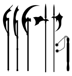 Set of silhouettes of halberds vector image