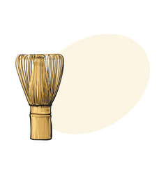 side view drawing of wooden whisk for matcha tea vector image vector image