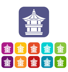 Traditional korean pagoda icons set vector