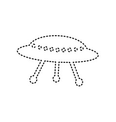 Ufo simple sign black dashed icon on vector