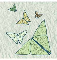 Drawing of origami butterflies in hairline style vector image
